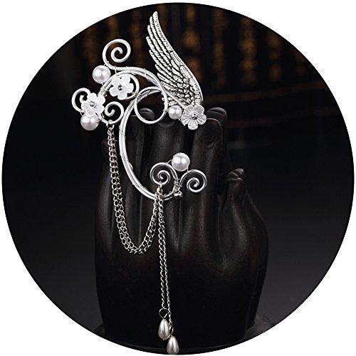 Elf Ear Cuffs, Aifeer 1 Pair Pearl Beads Wing Tassel Filigree Cosplay Elven Ears Fantasy Costume Handmade