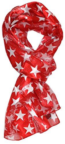 Ted and Jack - Stars & Stripes American Pride Print Silk Feel Scarf in Red Stars - America Scarf