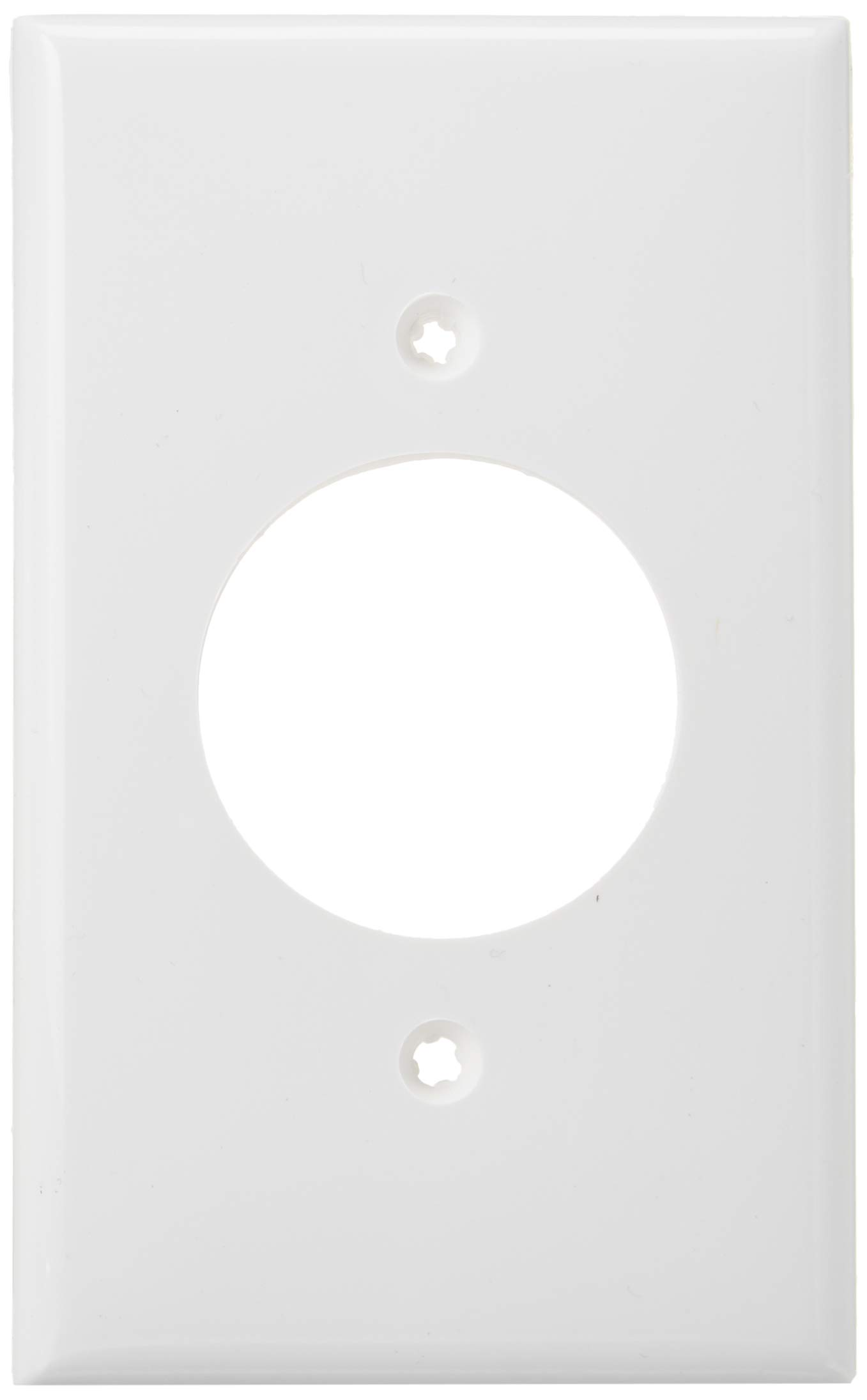 Leviton 80720-W 1-Gang 1.60-Inch Diameter, Device Receptacle Wallplate, White, 25-Pack