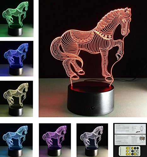 Cheap Oberora 3D Acrylic Visual Touch Table Lamp 7 Colors Changing 3d Horse Creative Home Decor USB LED Desk Night Light,Gift For Child Seven Color b