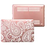 MacBook Air 13 inch Case- Laptop Rose Gold Protective Hard Plastic Cover Compatible Apple- Fits on Model A1466 & A1369 2015 (Gold Paisley White)