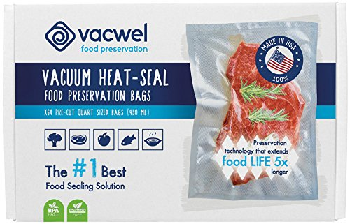 Vacwel Food Vacuum Sealer Bags Quart, 8x12inch, USA Made, 64x Vacuum Sealing Bags that Stop Freezer Burn, Bags Fit All Sealers (Vacuum Seal Quart Bags compare prices)