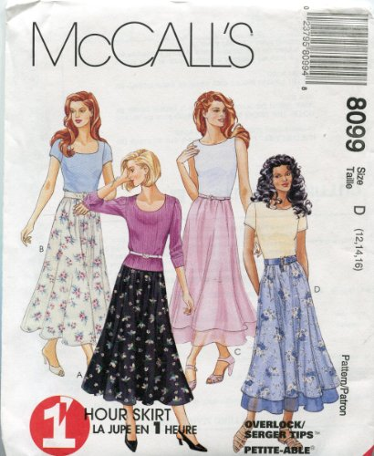 McCall's Pattern 8099~1 Hour Pull-On Single or Tiered Skirt ~ Sizes 12, 14, 16 (Single Tiered)