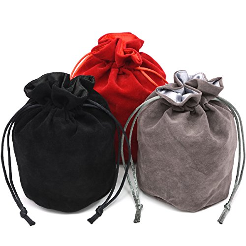 - IvyFieldDice Red/Grey/Black Drawstring Dice Bag - Dungeons and Dragons Fabric/Standing Cotton Fabric Dice Bag/D&D Dice Pouch/Small Pouch/Also can be Used as a Velvet Jewelry Bag(3 Colors for One Set)