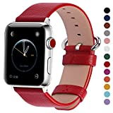 Fullmosa Compatible Apple Watch Band 38mm 40mm 42mm 44mm Calf Leather Compatible iWatch Band/Strap Compatible Apple Watch Series 4 Series 3 Series 2 Series 1,38mm 40mm Red