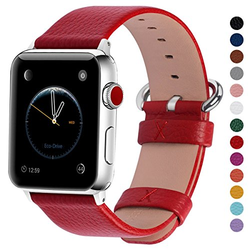 Fullmosa Compatible Apple Watch Band 44mm 42mm 40mm 38mm Calf Leather Compatible iWatch Band/Strap Compatible Apple Watch Series 4 Series 3 Series 2 Series 1,44mm 42mm Red