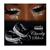 GlitterWarehouse Chunky Silver Mermaid Loose Holographic Solvent Resistant Cosmetic Grade Glitter (20g Jar)