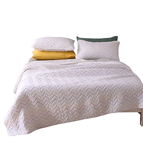 Brandream White Quilt Bedding Set Lightweight Chevron Zig Zag Coverlet Set 100 Cotton Queen Size 3Pcs