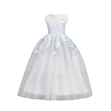 26c3c7ca01024 YuanDian Fille Enfant Longue Soiree Robe De Mariage Demoiselle d Honneur  Fleurs Broderie sans Manches Tulle