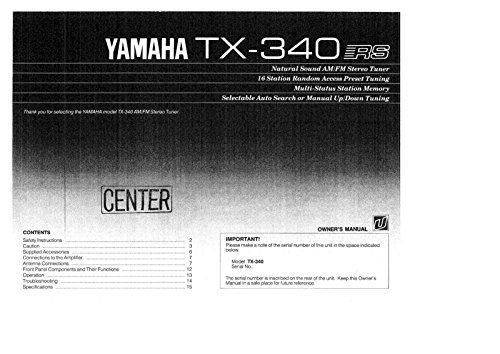 Yamaha TX-340 Tuner Owners Instruction Manual Reprint for sale  Delivered anywhere in USA