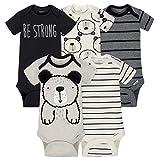 Gerber Baby-Boys 5 Pack Variety Onesies, Grey Bear, Newborn
