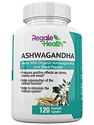 Organic Ashwagandha Root Powder - 1300mg - 120 Veggie Capsules with Black Pepper - Anti Anxiety Supplements, Stress Relief, Mood, Memory, Adrenal and Thyroid Support - Non-GMO
