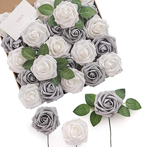 Ling's moment Artificial Flowers Roses 50pcs Real Looking Shimmer Silver Grey Fake Roses w/Stem for DIY Christmas Tree Xmas Wedding Party Centerpieces Arrangements Party Decor (Wedding And Silver Centerpieces Turquoise)