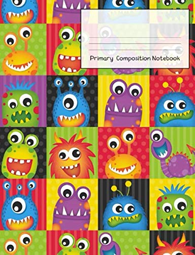 Primary Composition Notebook: Story Paper Journal Grades K-2 & 3 - Dashed Midline and Picture Space School Exercise Book 120 sheets. Fun Monster Cover.]()