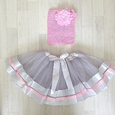 Conjunto con falda tul rubantée modelo gris: Amazon.es: Bebé