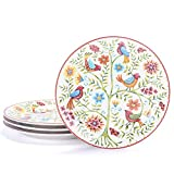 Bico Red Spring Bird Salad Plates Set of