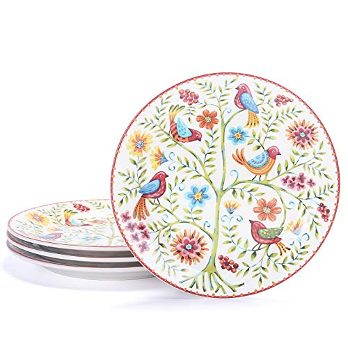(Bico Red Spring Bird Ceramic 8.75 inches Salad Plates, Set of 4, for Pasta, Salad, Appetizer, Microwave & Dishwasher Safe, House Warming Birthday Anniversary Gift)