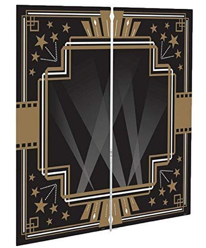 Fancy Me Large Black Gold Vintage Hollywood 1920s Art Deco Glitz Glam Scene Setter Party Wall Decoration Backdrop Selfie Station Photo Booth