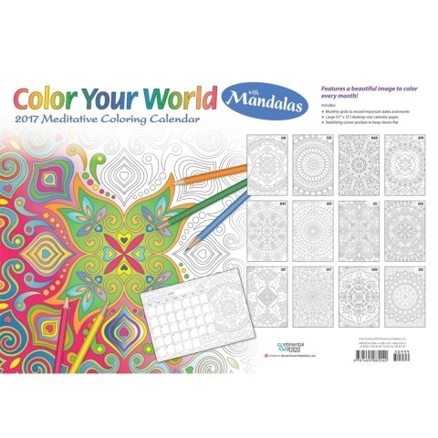 2017 Colour Your World with Mandalas Calendar (Anglicized Version) - 12 x 17 Desk Pad