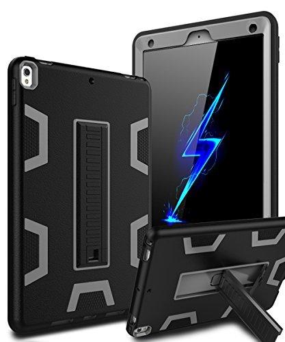 iPad Pro 10.5 Case,KAKA New iPad Pro 10.5 Inch 2017 Case[Heavy Duty]Three Layer Ultra Hybrid Shockproof Full-Body Protective Case With Kickstand for New Apple iPad Pro 10.5 Inch 2017 Model,Black/Grey