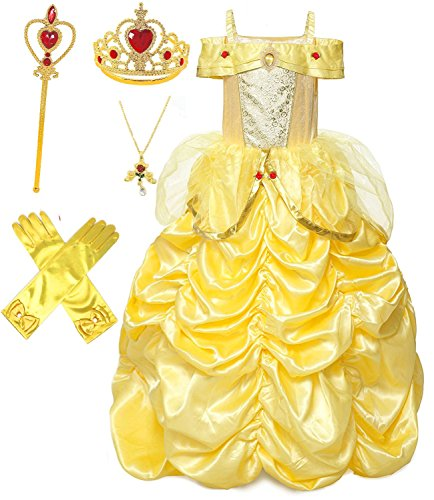 Princess Deluxe Dress Up Set - Princess Belle Deluxe Yellow Party Costume Dress up Set (7-8)