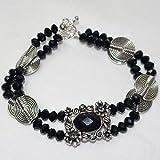 Black Pendant Bracelet|Silver plated slider/Rondell black glass beads/Flat lentil metal beads bracelet for women
