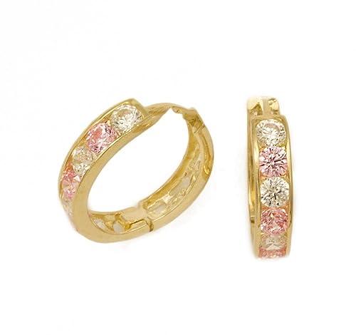 585 Gold Damen Kinder Ohrringe Creolen 10 mm mit Zirkonia rose (pink), weiß. Neu