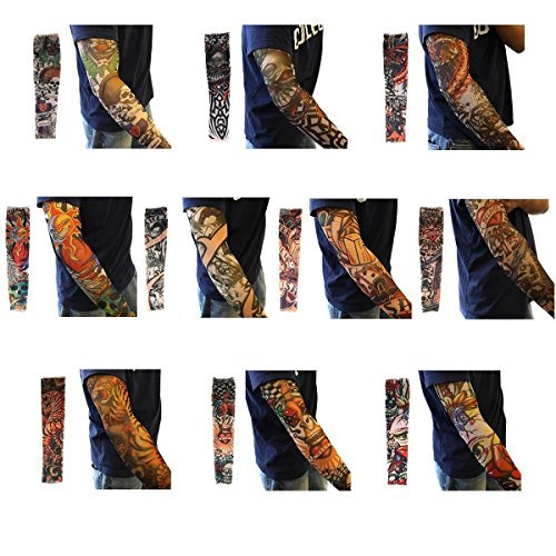 Akstore 10PCS Set Arts Fake Temporary Tattoo Arm Sunscreen Sleeves Designs Tiger, Crown Heart, Skull, Tribal and Etc (The Best Sleeve Tattoo Designs)