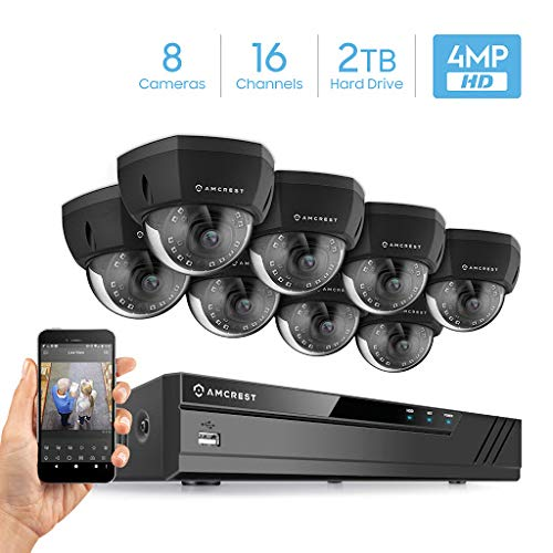 Amcrest 4MP Security Camera System w 4K 16CH 8-Port PoE NVR, Pre-Installed 2TB HDD, 8 x 4-Megapixel IP67 Weatherproof Metal Dome POE IP Cameras, NV4116E-IP4M-1028EB8-2TB Black
