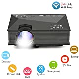 1080 Projector Screen - Mini Projector UC46 Portable Multimedia Home Cinema Theater 1200 Lumens LED Projection with USB VGA HDMI SD Card AV WiFi for Party,Home Entertainment,20000 Hours Led Life with Remote