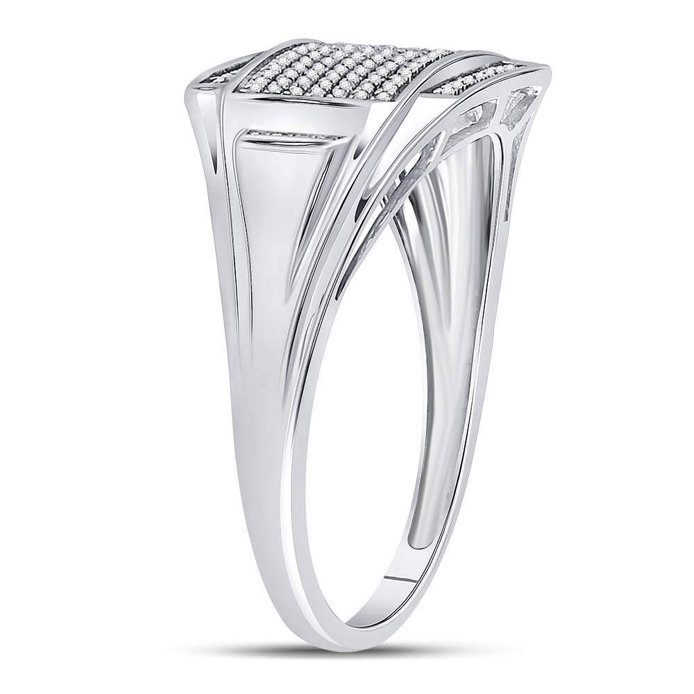 Sterling Silver Mens Round Diamond Rectangle Cluster Fashion Ring 1//4 Cttw