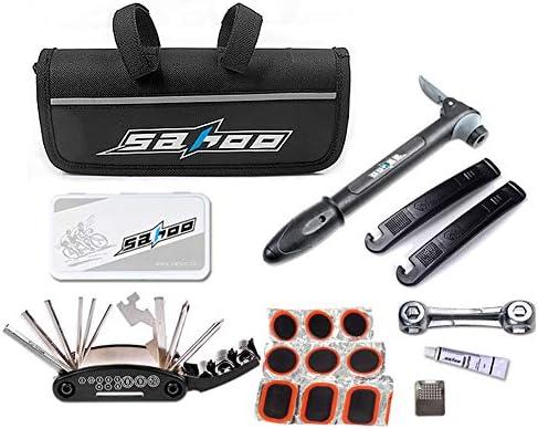 ROARINGWILD バイクタイヤ修理ツールキット 16in1 マルチツール ドライバービット/ミニバイクエアポンプ タイヤパンク修理キット サイクリング修理ツールセット