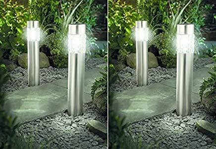 4er set solarlampe led solarleuchte wegeleuchte xxl 56cm edelstahl mit bewegungsmelder keine - Solarlampen garten kugel ...