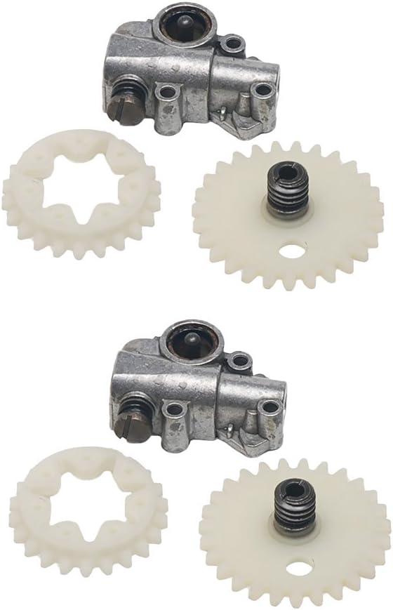 2X Bombas de Aceite Engrase Engrasador Engranajes Helicoidal de Rueda Dentada Accesorios para STIHL Motosierra 038 MS380