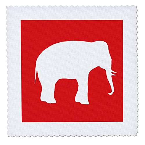 InspirationzStore Vintage Art - Red elephant silhouette. White wildlife. Modern wild animal shadow - 25x25 inch quilt square (qs_164912_10)