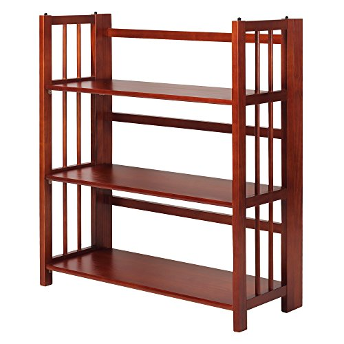 Mahogany Bedroom Furniture - Casual Home 3-Shelf Folding Stackable Bookcase, 35-Inch Wide, Mahogany