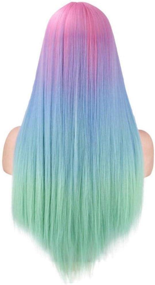 XTHY Peluca cosplay Cabello liso bicolor azul rosa verde ...