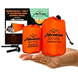 Emergency Tent, Emergency Sleeping Bag, Combo kit Use As Survival Tent, Emergency Shelter, Tube Tent, Survival Tarp - Includes Tent, Sleeping Bag, Fire Starter and Whistle, Adventure Supply Co.
