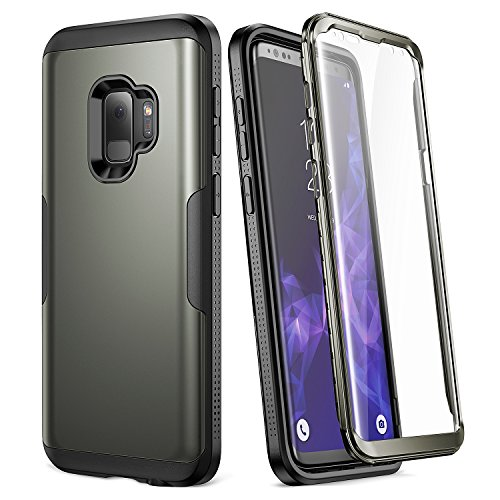 Galaxy S9 Case, YOUMAKER Gun Metal with Built-in Screen Protector Heavy Duty Protection Shockproof Slim Fit Full Body Case Cover for Samsung Galaxy S9 5.8 inch (2018) - Gun - Black Metal Cover