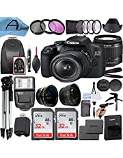 $569 » Canon EOS 2000D / Rebel T7 Digital DSLR Camera 24.1MP CMOS Sensor with 18-55mm Lens, 2 Pack SanDisk 32GB Memory Card, Backpack, Tripod, Slave Flash and A-Cell Accessory Bundle (Black)