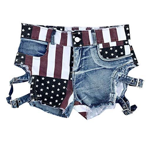Rambling Casual Women's Low-Rise American Flag Print Daisy Duke Ripped Denim Shorts (Blue A, S) ()