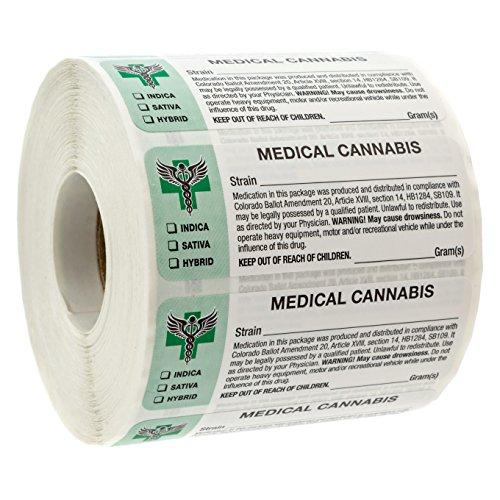Colorado Medical Cannabis Strain Labels - State Compliant Medical Marijuana, Pot Labels (1000 Labels per roll)