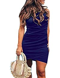 9ca4a9944332 Womens Short Sleeve Sheath Dress Solid Color Irregular Hem Summer Bodycon  Mini Dress (XL