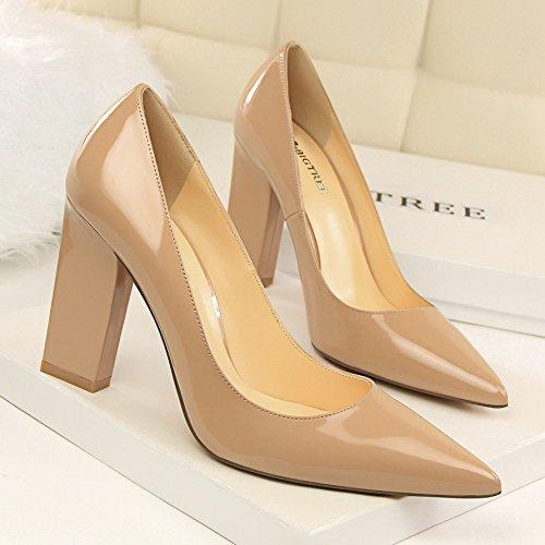 10 Desnuda laca tacón alto único centimetro zapato XiaoGao color de calzado zapato de TqARWdw