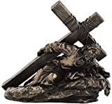10 Inch Jesus Carrying The Cross Cold Cast Bronze Sculpture Figurine