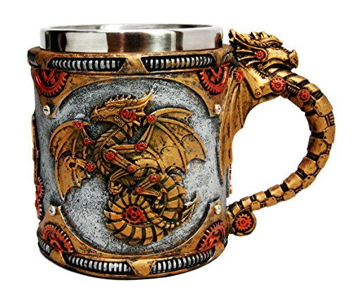 Golden Fire Wheel Steampunk Cyborg Robotic Dragon Beer Stein Tankard Coffee Cup (Fantasy Coffee)