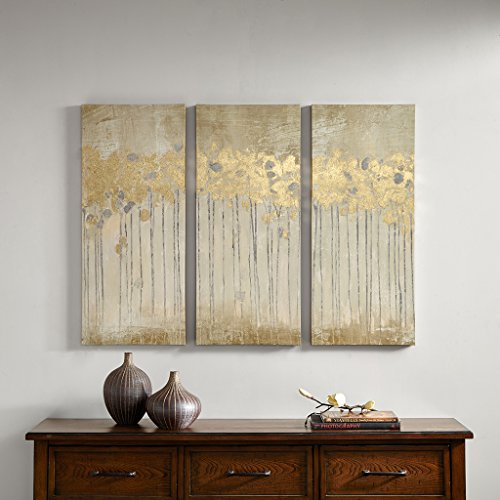 Madison Park Sandy Forest Abstract Hand Embellished Canvas Wall Art 15X35 3 Piece Multi Panel, Transitional Wall Décor (Painting Abstract Art Com)