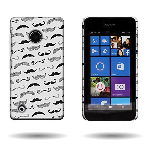 Nokia Lumia 530 Case with Funny Design (Mustaches) CoverON 1pc Slim Hard Shell Back Phone Cover for Nokia Lumia - Beards Mustaches Cool And