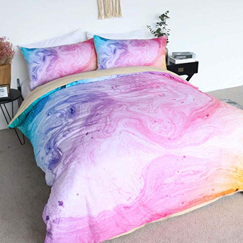 BlessLiving 100% Cotton Marble Duvet Cover Colorful Marble Bedding Pastel Pink Blue and Purple Bedspread 3 Pieces Girls Bed Set -
