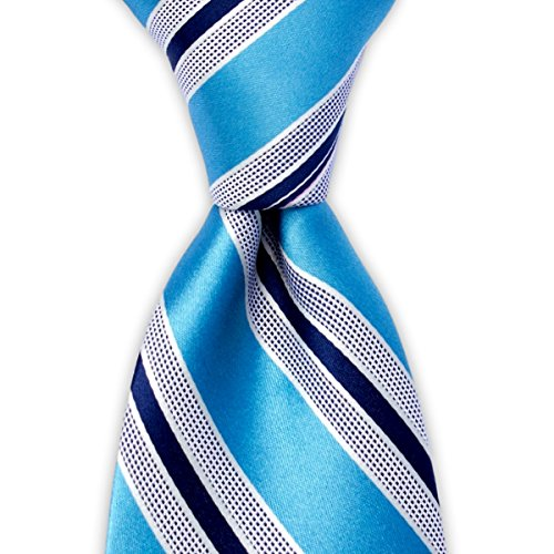 Light Blue Tie with White Regimental Stripes Pattern Tie by TieThis | The Cambridge Tie